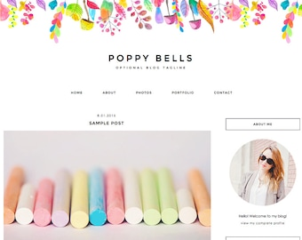 "Blogger Template, Blog Template - ""Poppy 