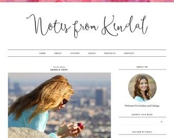 "Blogger Template, Blog Template, Mobile Responsive - ""Kendal | by Lindsey"" Instant Digital Download"