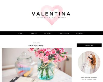 "Blogger Template, Blog Template - ""Valentina 