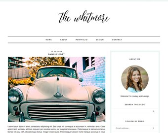 "Blogger Template, Blog Template, Blog Design - ""Whitmore | by Lindsey"" Instant Digital Download"