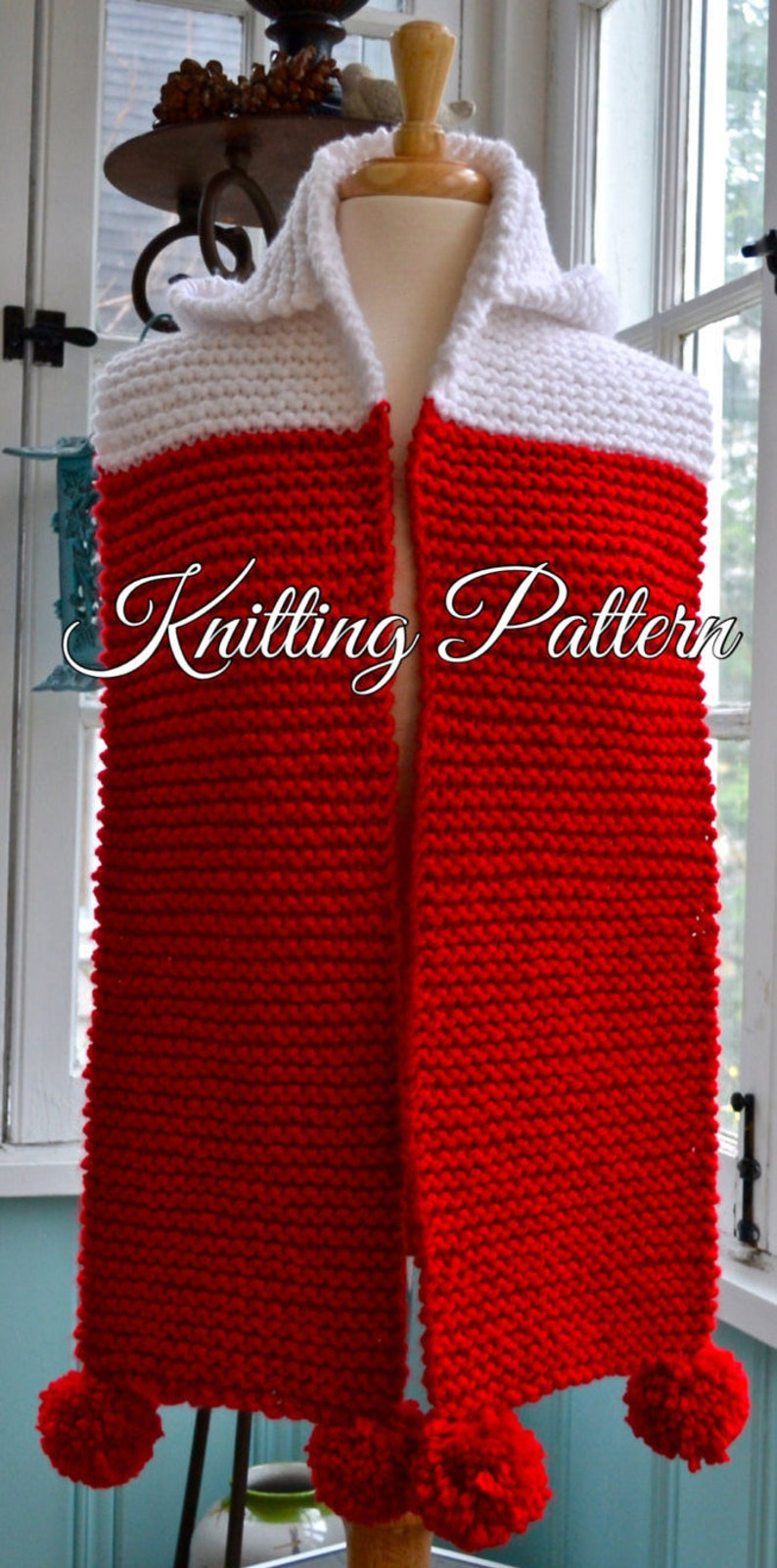Knitting Pattern Chunky Yarn Hooded Scarf Sized For Child Etsy