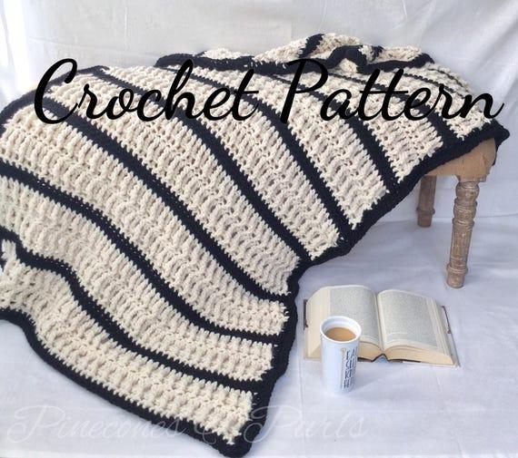 Crochet Pattern Chunky Yarn The Locklyn Crochet Throw Blanket Etsy