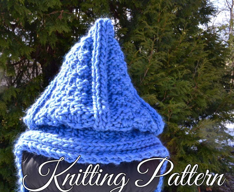 Knitting Pattern Super Bulky Yarn Chunky Yarn Hooded Scarf Etsy