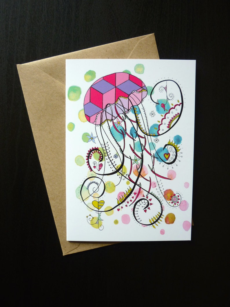 Occasion Birthday Blank Hand Drawn Jellyfish Greetings Card Anniversary Available with Custom Message
