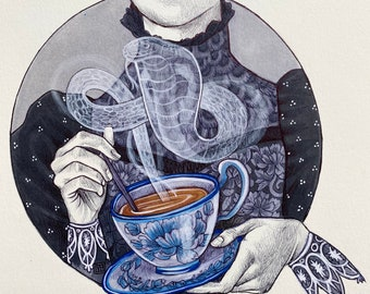PRINT - Drawlloween 2020 - Haunted Tea