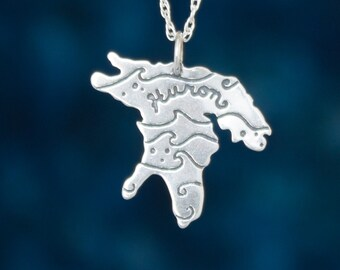 Michigan Jewelry, Lake Huron necklace in etched Sterling Silver, Upper Peninsula, Great Lake Jewelry, Ontario Jewelry