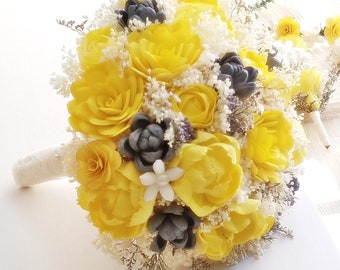 Yellow gray bouquet etsy yellow sola flower bouquet yellow gray bouquet wedding flowers yellow sola wedding bouquet bridal accessories keepsake bouquet sola mightylinksfo