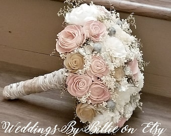 Ivory Rose Bouquet Artificial Foam Flower Wedding Bouquet For Bridal Bridesmaids Champagne Bouquet DJ-52 Champagne Flower Bouquet