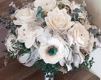 Emerald Green Wedding Bouquet, Wedding Flowers, Green Silver White Wedding, Alternative Bouquet, Bridal Accessories, Keepsake Bouquet