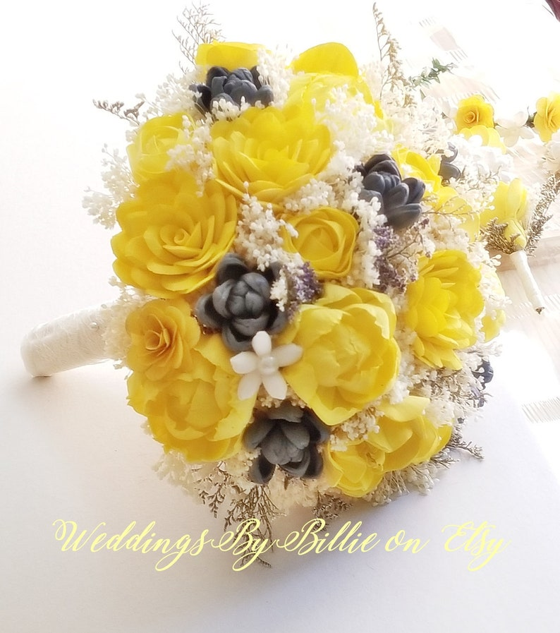 390fe7540360 Yellow Sola Flower Bouquet Yellow   Gray Bouquet Wedding