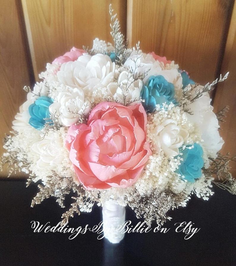 05c934dc69194 Teal Turquoise Mint Coral Sola Wedding Bridal Bouquet, Sola Bouquet,  Alternative Bouquet, Bridal Accessories, Keepsake Bouquet, Sola Flowers