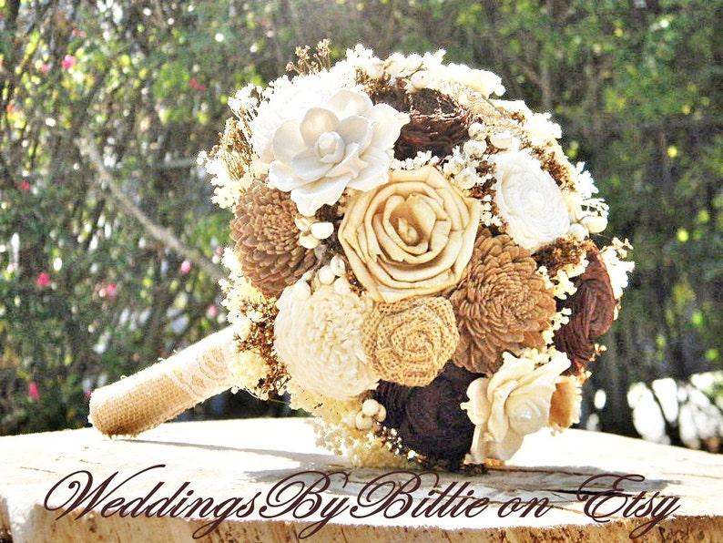 Ivory Brown Champagne Sola Bouquet Burlap Lace,Alternative Bouquet,Rustic,Bridal Accessories,Keepsake Bouquet,Wedding Bouquet Fall Wedding