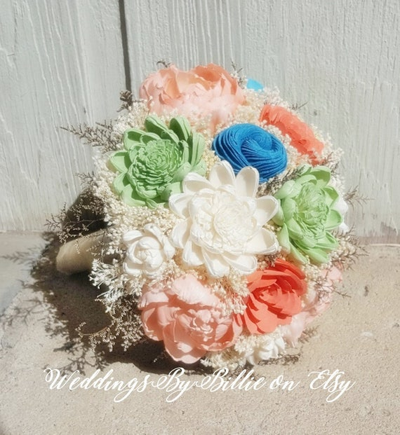 2f50be1827799 Teal Peach Coral Sola Wedding Bridal Bouquet, Mint Coral Peach, Sola  Bouquet, Alternative Bouquet, Bridal Accessories, Keepsake Bouquet