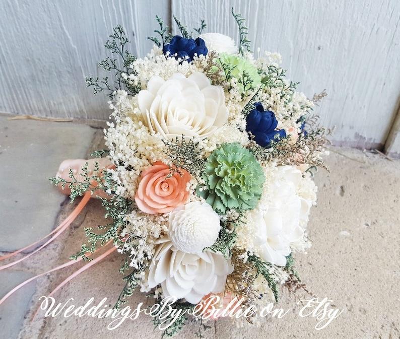 73ecd400212fe Mint Coral Navy Sola Flower Bouquet, Burlap Lace, Sola Flowers, Alternative  Bouquet, Rustic Shabby Chic,Bridal Accessories, Keepsake Bouquet