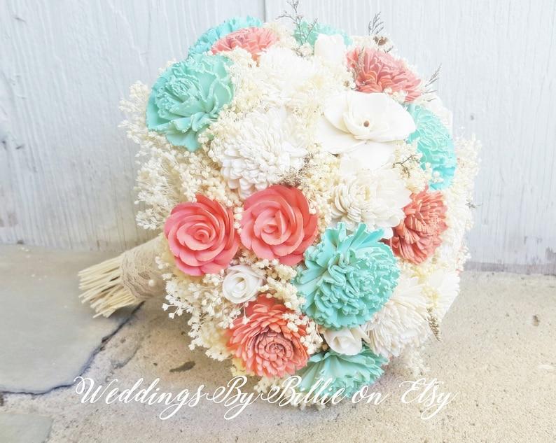 ef53e6a2db69b Mint Peach Coral Sola Wedding Bridal Bouquet, Burlap Lace, Sola Bouquet,  Alternative Bouquet, Bridal Accessories, Keepsake Bouquet, Mint