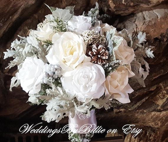 Winter White Wedding Flowers: Winter Wedding Bouquet Silver White Ivory Pine Cones Hand