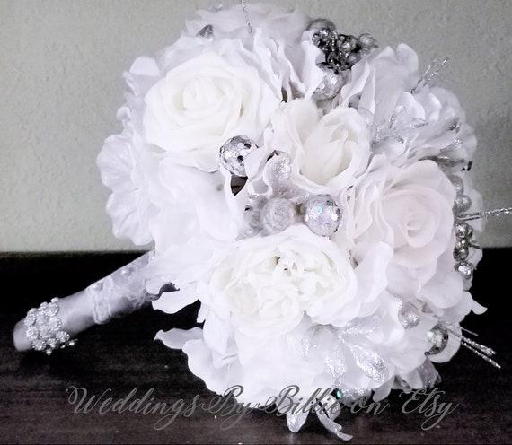 Winter White And Silver Bouquet White Wedding White Etsy