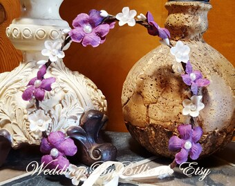 Floral Crown-Fall Floral Crown-Bride, Bridesmaid, Flower Girl,  Floral Crown- Plum Purple Ivory Floral Crown-Made To Order Any Size, Plum