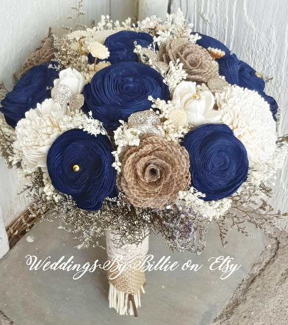 Navy Blue Sola Bouquet Blue Champagne Ivory Bouquet Wedding | Etsy