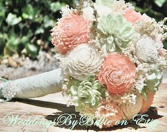 Weddings, Peridot Mint Peach Coral Bouquet, Burlap Lace, Sola Bouquet, Alternative Bouquet,Rustic Shabby ,Bridal Accessories, Keepsake, Mint