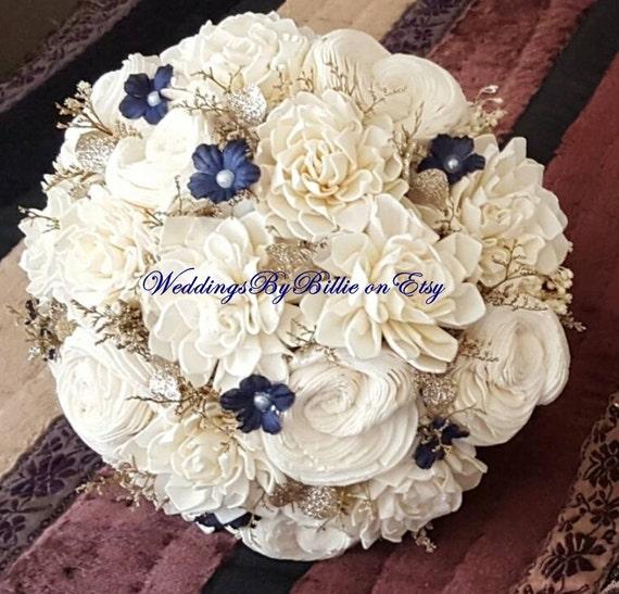 Navy Blue Sola Bouquet Blue Champagne Ivory Bouquet Wedding | Etsy