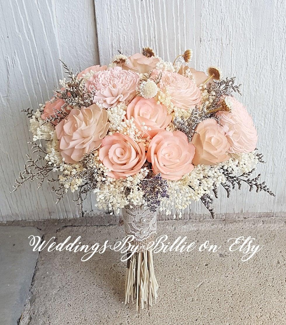 Peach Sola Wedding Bouquet Peach Blush Wedding Pale Peach Etsy