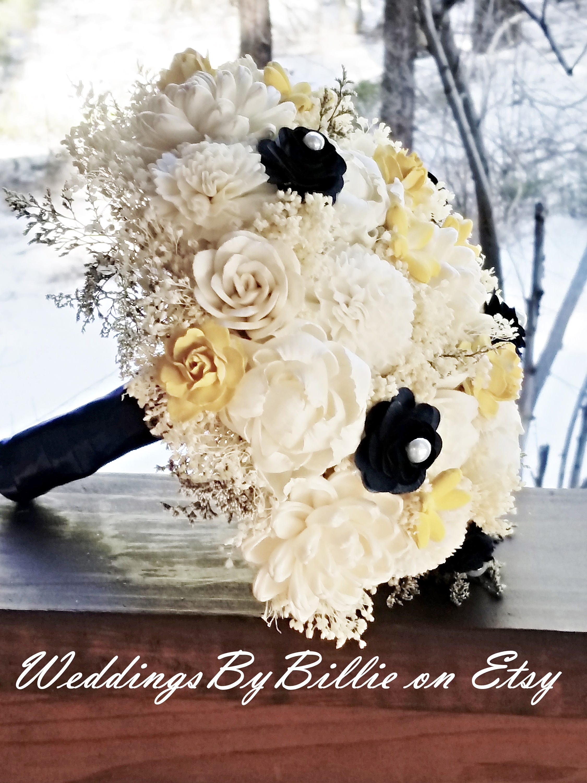 Sola Flowers Navy Blue Yellow Sola Wedding Bouquet Blue Etsy