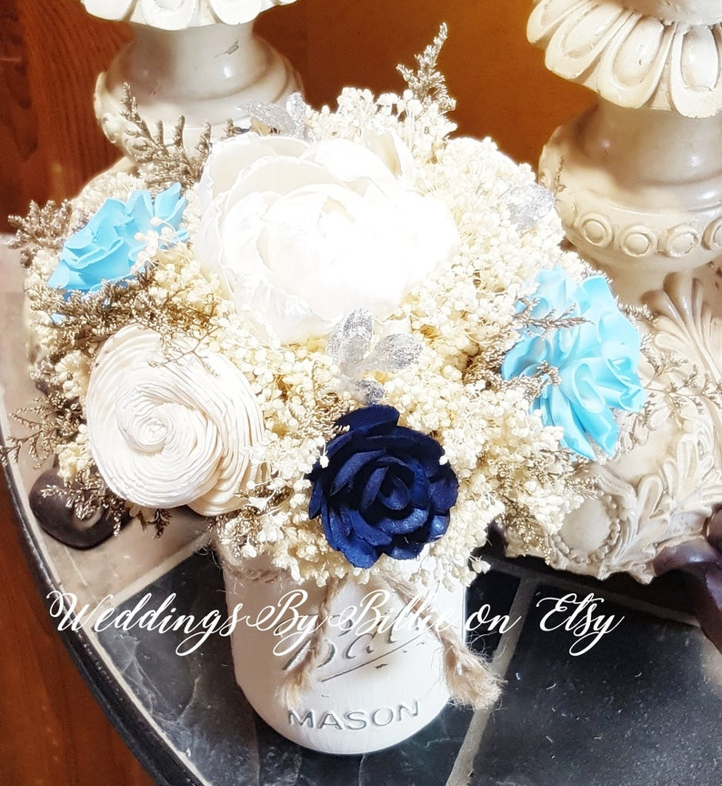 Navy Silver Light Blue Wedding Table Centerpiece Sola Etsy