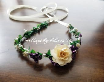 Sola Floral Crown-Plum Purple Ivory Floral Crown-Bride, Bridesmaid, Flower Girl, Baby Shower, Floral Crown - Peach, Ivory Floral Crown, Plum