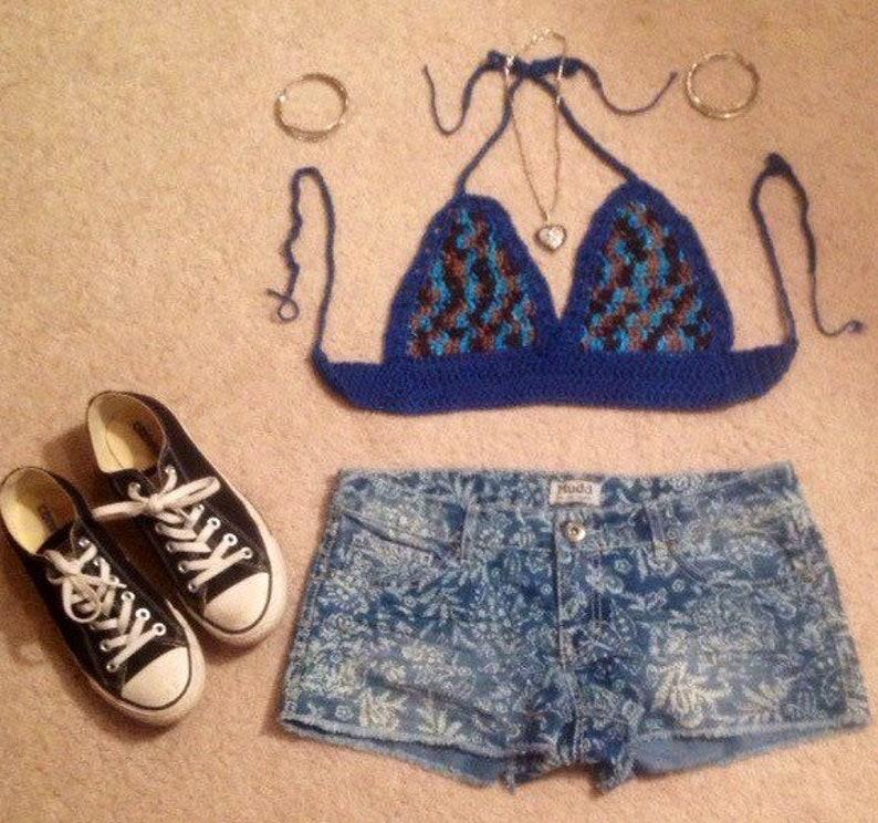 Brown tan blue bratop bikini hippie Summer festival boho top Size medium Free Shipping