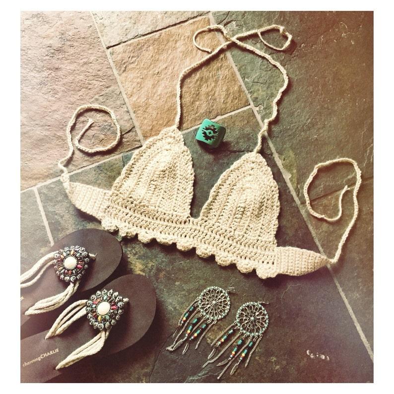 Oatmeal halter festival top ~bratop ~bikini top ~gypsy ~crop top ~boho hippie top