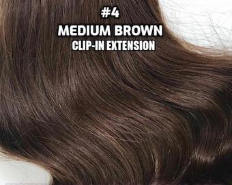 Clip-ins 100% Human hair #4 Medium Brown Hand-made Clip-in hair extensions