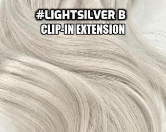 100% Human hair Light Silver Grey Gray Hand-made Clip-in hair extensions