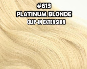 Clip-ins 100% Human hair #613 Platinum blonde Hand-made Clip-in hair extensions
