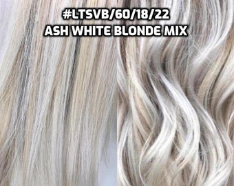 100% Human Hair WIRE extension Hand-made Ash White Blonde Mix