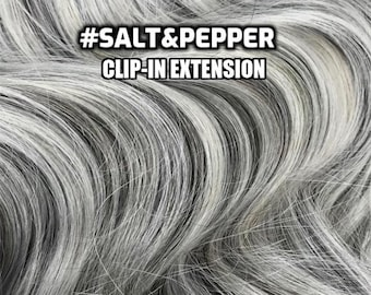 100% Human hair Salt&Pepper Hand-made Clip-in hair extensions