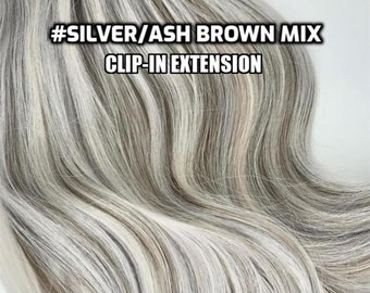 100% Human hair Silver/Ash Brown Mix Hand-made Clip-in hair extensions