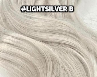 100% Human Hair LightSilver White Silver Gray Icy Blonde WIRE extension Hand-made