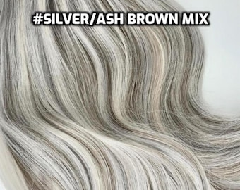 100% Human Hair WIRE extension Hand-made Silver Gray Ash Brown mix
