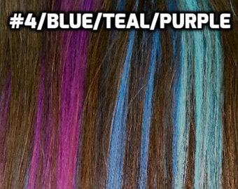 100% Human Hair 5pcs Rainbow Ombre tide dye Clip in Human hair extensions
