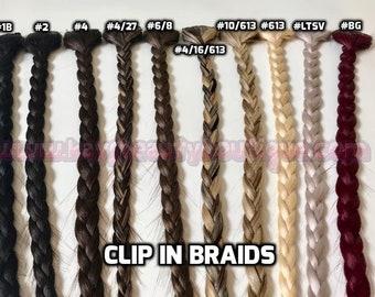 Clip-in Braids hair extensions 100% Human hair Hand-made 1pc
