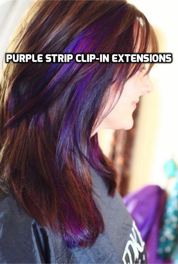 100 Human Hair Bright Purple Strip Clip In Extensions Streaks Etsy
