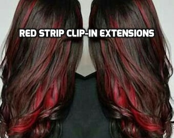 100% Human Hair Bright Red Strip Clip-in extensions streaks 1pc