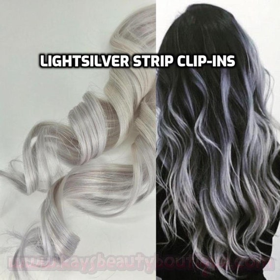100% Human Hair White Silver Gray Platinum Blonde Strip Clip-in extensions  streaks 1pc