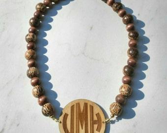 Custom Wooden Monogram Beaded Necklace - Coconut Wood - Charm Candy Studio