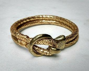 Authentic Metallic Gold Leather Wrap Cuff Bracelet - Charm Candy Studio