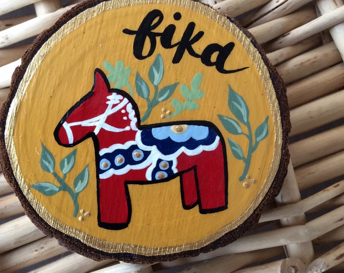 Dala Wooden Magnets, Folk Art Coasters, Horse, Dalarna,Swedish Dala Horse, Dala, Sweden,TheSwedishFlicka, Fika, Hand-Painted