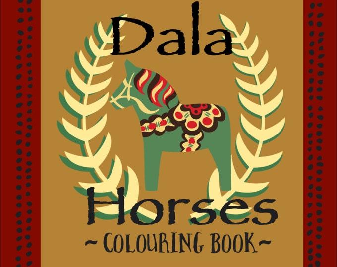 Dala Colouring Book,Wooden Horse, Dalarna,Swedish Dala Horse, Dala, Sweden, Colouring Book, Colouring, TheSwedishFlicka, Coloured Pencils