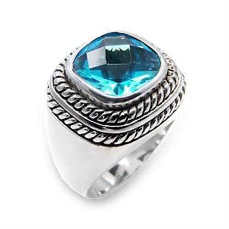 6x209-925 Sterling Silver Ring Rhodium Women Synthetic Sea Blue A874-6x209