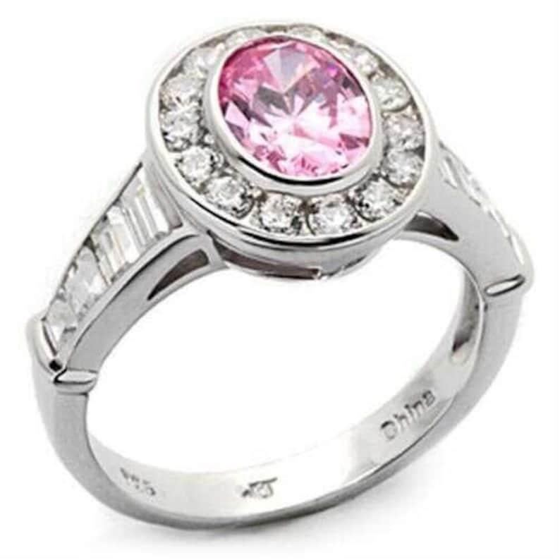 Los044-925 Sterling Silver Ring Rhodium Women Aaa Grade Cz Rose A874-los044